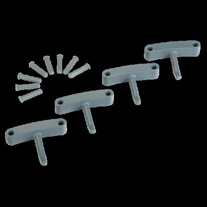 Крючок 4 шт. к настенным креплениям  арт. 1017 и 1018, 140 мм, серый цвет