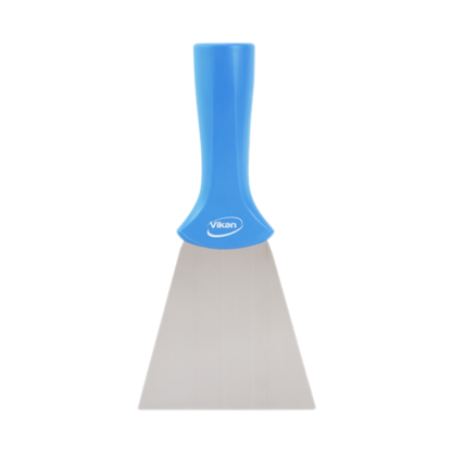 Ручной скребок нержавеющая сталь, с резьбовой ручкой, 100 мм, синий цвет