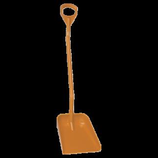 Эргономичная большая лопата с длинной ручкой, 380 x 340 x 90 мм., 1310 мм,  оранжевый цвет