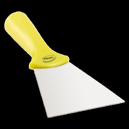 Ручной скребок нержавеющая сталь, с резьбовой ручкой, 100 мм, желтый цвет