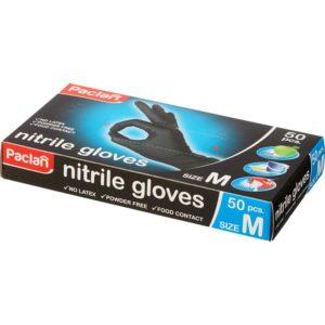 Перчатки одноразовые нитриловые неопудренные черные размер M 50 шт/упак