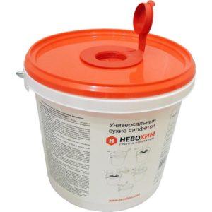 Салфетки для дезинфекции сухие Невохим (200 штук в контейнере 3 л)
