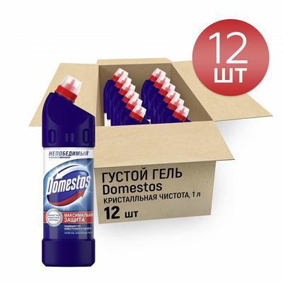 Средство для сантехники Domestos 1 л (отдушки в ассортименте, 12 штук в упаковке)