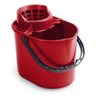Ведро с отжимом на колесиках TTS Pit, 12 л., красное