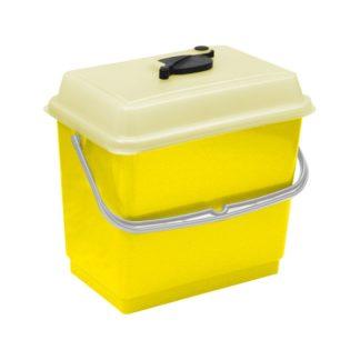 Ведро TTS 4 л., жёлтое, с крышкой, для одноразовых салфеток, 10 шт.