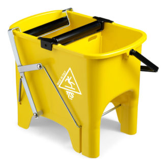 Ведро с отжимом на колесиках TTS Squizzy, 15 л., желтое, с педалью для отжима