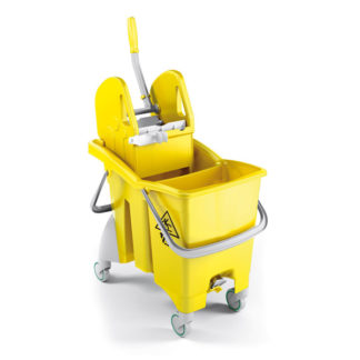 Ведро с отжимом на колесиках TTS Action Pro Tec, 30 л., желтое, с отжимом, на колесах