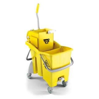 Ведро с отжимом на колесиках TTS Action Pro O-key, 30 л., желтое, с отжимом, на колесах
