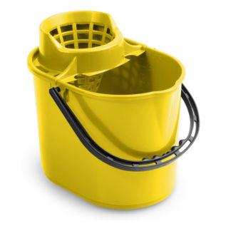Ведро с отжимом на колесиках TTS Pit, 12 л., желтое