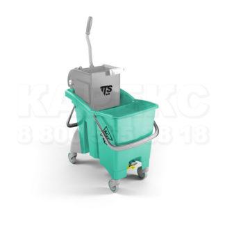 Ведро с отжимом на колесиках TTS Action Pro O-Key, 30 л., зеленое,с отжимом, на колесах