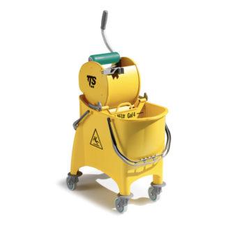 Ведро с отжимом на колесиках TTS Witty Dry, 30 л., желтое, на колесах