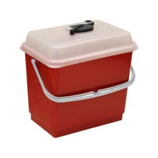 Ведро TTS 4 л., красное, с крышкой, для одноразовых салфеток, 10 шт.